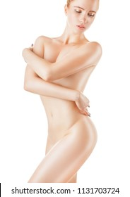 Beautiful young slim woman covers her bare breasts isolated on white background