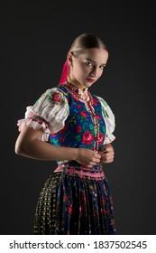 Beautiful young slovak girl. Slovak folklore. Slovak folklore girl.