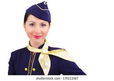 Beautiful young  smiling stewardess, isolated white background