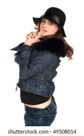 Beautiful young smiling woman with black hat