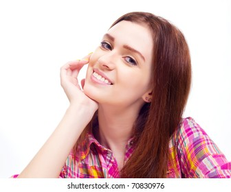 beautiful young  smiling woman, isolated against white