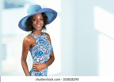 Beautiful young South African woman in blue