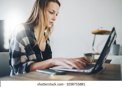 Beautiful young student girl using modern laptop, Portrait of smart blonde female freelancer using portable computer for distance job while sitting in modern home interior