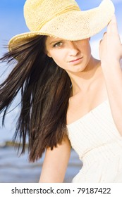 Beautiful Young Summer Beauty Woman Wearing Hat, Sea And Blue Sky Background