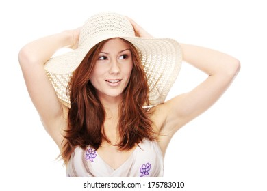 Beautiful young summer woman in hat, isolated on white background