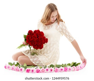 Beautiful young teen girl with a bouquet of flowers. The concept of style and fashion.Isolated on white background.