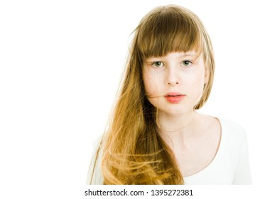 Beautiful young teen girls with long blond straight hairs - front view, electrified hair - white background