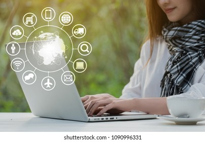 Beautiful young teenage woman freelance work with laptop at coffee shop, technology conceptual of IOT, internet of things