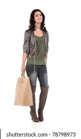 beautiful young teenage woman with shopping bag