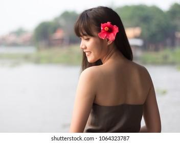 Beautiful young Thai girl with Thai ancient style dressing, Ayutthaya, Thailand