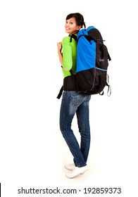 beautiful young tourist woman with backpack, white background