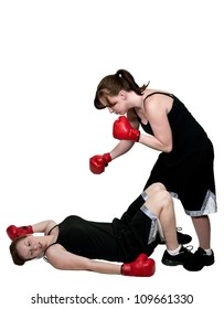 Beautiful young unconscious knocked out woman boxer with gloves