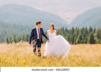 Beautiful young wedding couple walking on golden sunny field with forest hills as background