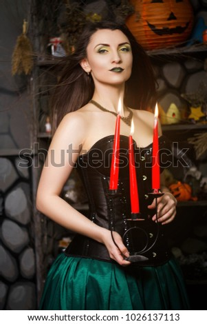 aa1ee315b1e Beautiful Young Witch Black Corset Burning Stock Photo (Edit Now ...