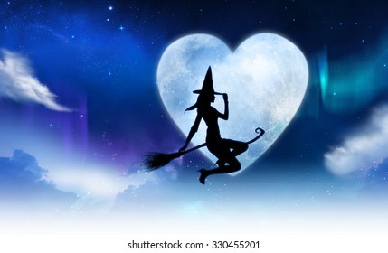 Beautiful young witch flying on broom through the night filled with shiny stars and heart shaped moon