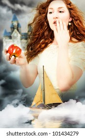 Beautiful Young Woman Actress Playing Snow White in a Fantasy Poster Style Portrait