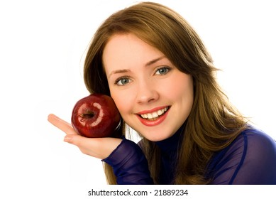 beautiful young woman with an apple isolated against white background