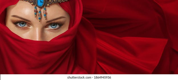 Beautiful young woman arabic style portrait with jewelry - Shutterstock ID 1864945936