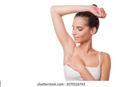 Beautiful young woman with armpit odor problem. Armpit epilation, lacer hair removal.