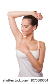 Beautiful young woman with armpit odor problem. Armpit epilation, lacer hair removal.  smooth armpit