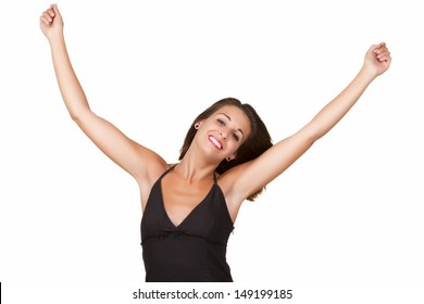 Beautiful young woman with arms outstretched and smiling isolated in white background