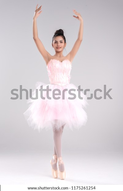 8169cea6d Beautiful young woman ballerina show ballet dance,dress in fink feather, professional outfit,