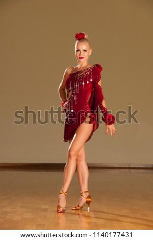 55ccd0e9df6ba Beautiful Young Woman Ballroom Dance Dress Stock Photo (Edit Now ...