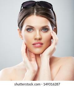 Beautiful young woman beauty close up face portrait. Female beauty model.