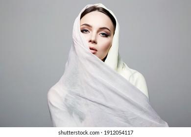 beautiful young woman. beauty girl in sari. fashion oriental style model