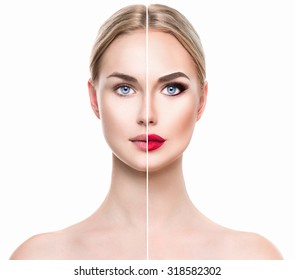 Beautiful young woman before and after make up applying isolated on white background. Comparison portrait