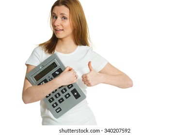 beautiful young woman with big calculator
