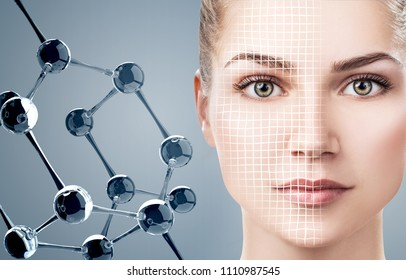 Beautiful young woman with big white molecules. Over blue background. Innovation cosmetics concept.