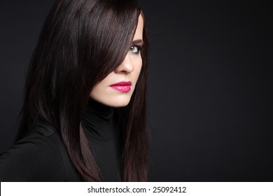Beautiful young woman with black hair.
