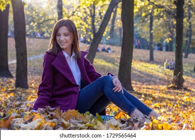 Beautiful young woman in blue jeans, white shirt and purple coat sits on fallen yellow leaves in autumn park. Contre-jour, glares. Evening sunlight.