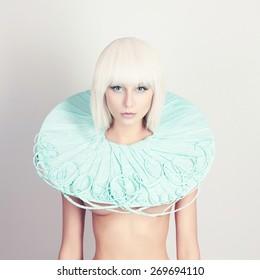 beautiful young woman. bob hairstyle girl.future fashion