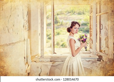 beautiful young woman with a bouquet of flowers is in the old room at the open window, photo of a woman with flowers in retro style