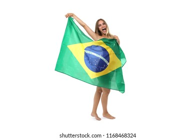 Beautiful young woman with the brazilian flag cheerful