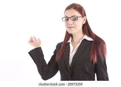 Beautiful young woman in business attire waving her hand