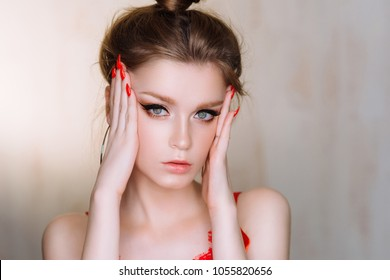 Beautiful Young Woman with Clean Fresh Skin look away. Girl beauty face care. Cosmetology, beauty and spa