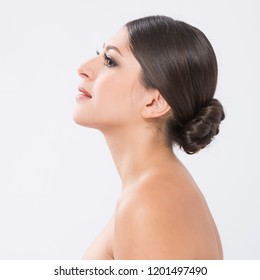 beautiful young woman with clean fresh skin. facial treatment . cosmetology , beauty .