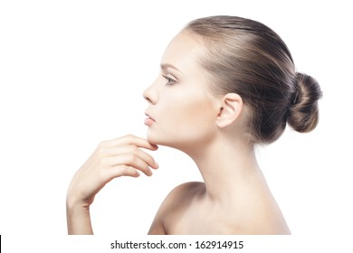 beautiful young woman with clean skin isolated on white background  and copyspace