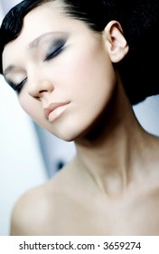Beautiful young woman with the  closed eyes