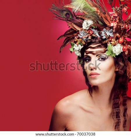 Beautiful Young Woman Colorful Flowers Hair Stock Photo