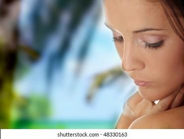 Beautiful young woman , concept of spa, beauty, wellness salon,bath