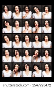 Beautiful young woman with different emotions. Brunette with curly hair and beautiful teeth. Collage, close-up. Black background. Vertical.