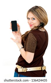 beautiful young woman displaying mobile phone on white background