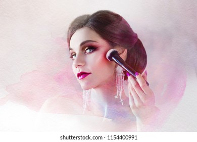 beautiful young woman is doing herself a makeover. Girl with brush in hand to apply powder on face, portrait in watercolor stylization