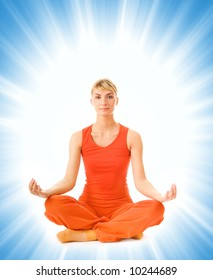 Beautiful young woman doing yoga exercise isolated on abstract background