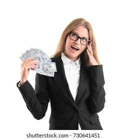 Beautiful young woman with dollar bills on white background