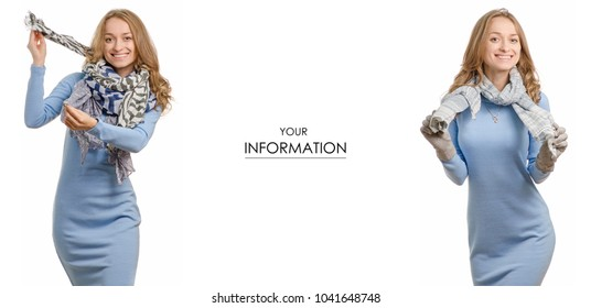 Beautiful young woman in dress with scarf shawl beauty fashion buy sale shop set pattern on white background isolation
